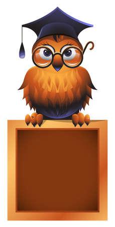 bücherwurm: Wise Owl auf einem Chalkboard Illustration