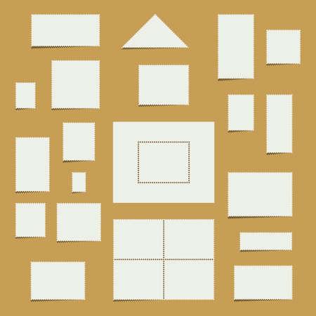 Colección de sellos postales blancas en blanco con copia espacio