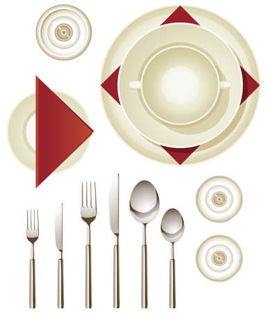 Collection of dinnerware for creating your own table setting Vector