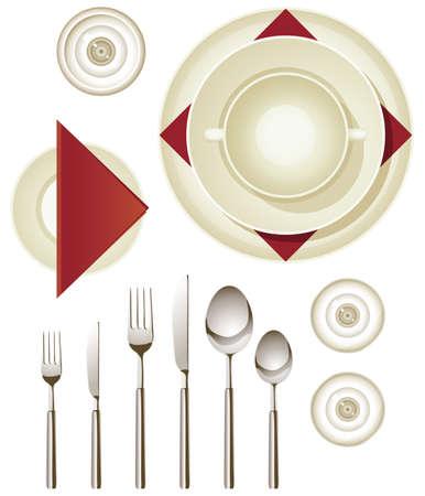 legen: Sammlung von Geschirr f�r die Erstellung Ihrer eigenen gedeckten Tisch Illustration