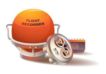 flauta dulce: Ilustración de un registrador de datos de vuelo de forma esférica Vectores