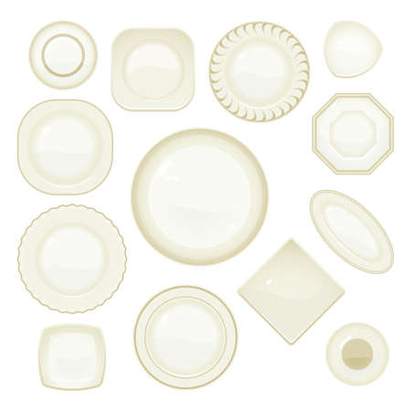 Collection of plates and saucers Vector