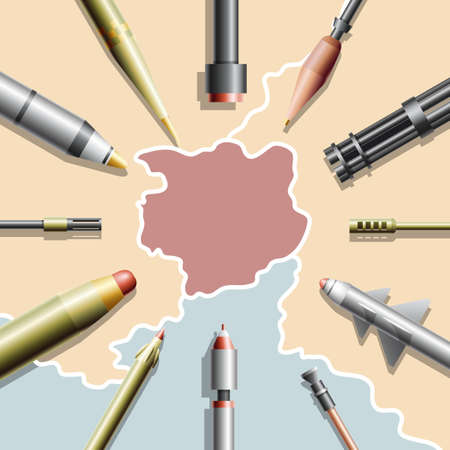 ballistic: An abstract country on a map surrounded by missiles and guns Illustration