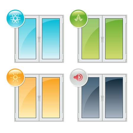 削減: プラスチック窓プロパティ - 断熱・遮熱、ノイズ削減、リサイクル  イラスト・ベクター素材