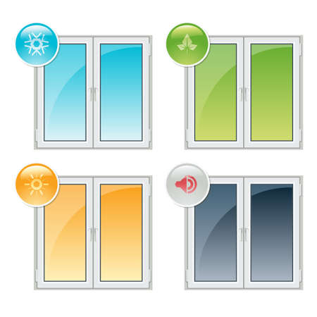 Plastic windows properties - thermal insulation, noise reduction, and recyclability Vector