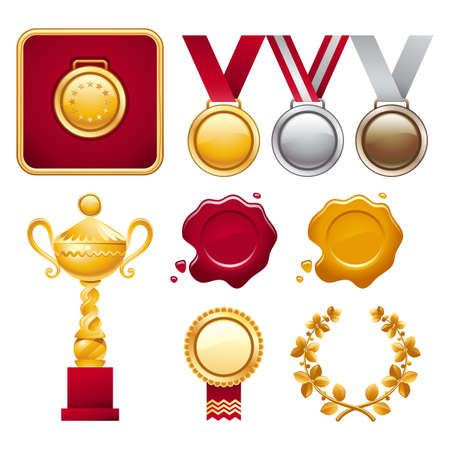Collection of different award trophies including cup, medals and laurel wreath Vector