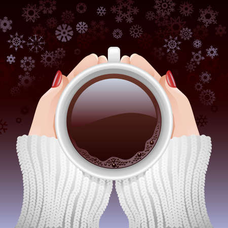 Cold hands holding a cup of hot coffee against snowy background