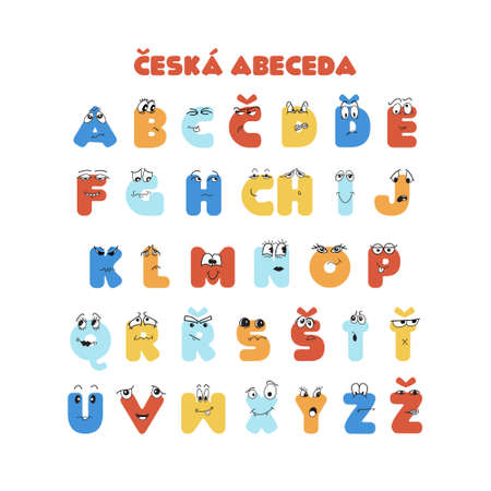 Czech colorful latin alphabet for kids education with doodle hand drawn characters. Easy to print for poster, banner, flyer. card, book.