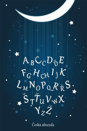 Czech latin alphabet poster for kids education and kids room wall decoration. Moon night, starry sky, lullaby vector illustration. Education material for kindergarten, preschool, school. Stock vector Иллюстрация