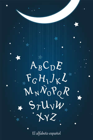 Spanish alphabet poster for kids education and kids room wall decoration. Moon night, starry sky, lullaby vector illustration. Education material for kindergarten, preschool, school.