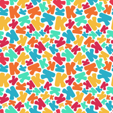 Letter K mosaic, kaleidoscopic colorful seamless pattern for kids. Isolated on white. Print for textile, book cover, wallpaper, decoration, greeting card, gift wrap, puzzle. Stock vector illustration.