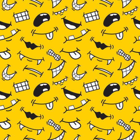 Cartoon expression mouths seamless patterns. Different emotions, feelings. Stock vector illustration for wallpaper, party decoration, scrap booking, wrap paper, greeting card. Print for textile