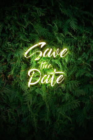 Save the date hand drawing glowing neon text on floral background. Creative realistic, luminescent stock illustration for wedding invitation, poster, banner, flyer. Copy space for your date. Zdjęcie Seryjne
