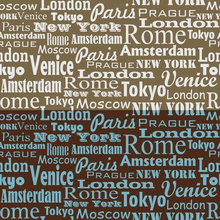 chapiteaux: Mod�le de texte transparente avec le nom de la ville et dans les capitales Illustration