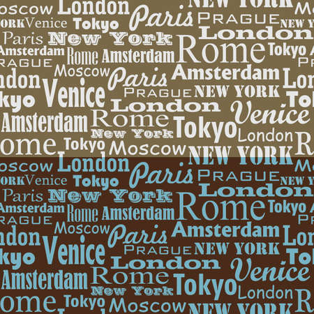 Seamless text pattern with name of city and capitals Vector