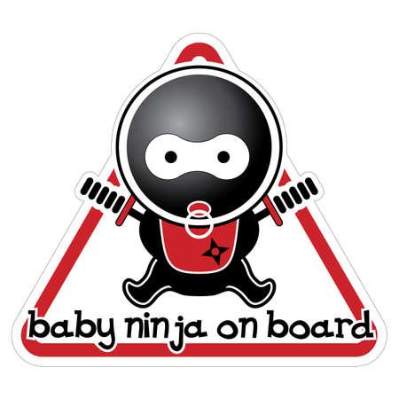 Baby Ninja on Board Illustration
