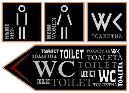 wc: WC - Signs for toilet different languages and fonts Illustration