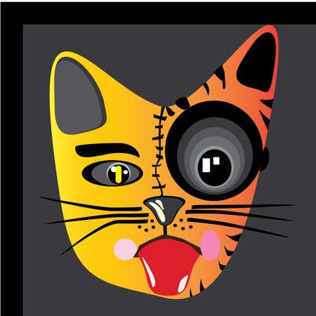 Illustration vector graphic of cat and tiger autofokus. Perfect for product decoration, room decoration, est