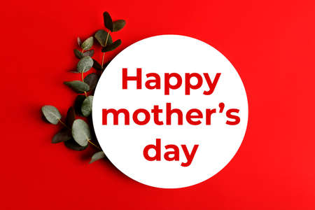 Red minimal background with text-happy mothers day.Fresh eucalyptus branch near it.Border arrangement.