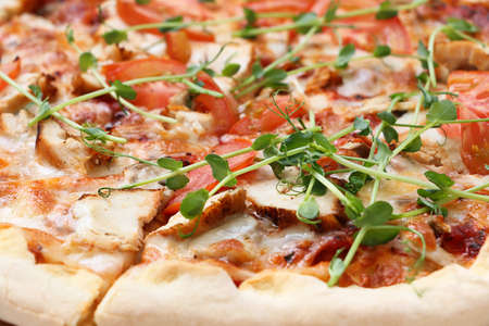 Closeup photography of fresh pizza, divided into slices. Decorated with micro green,tomatos,cheese and pieces of meat.Food background.
