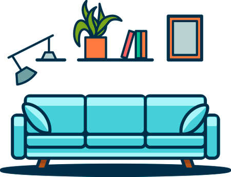 Illustration of the modern interior in flat lay style.Blue sofa with pillows, plant and books on the hanging shelf. 向量圖像