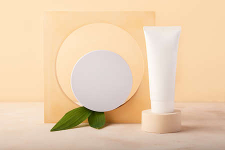 Blank round cosmetics cream box in the geometrical arch.Green fresh leafs and white tube on the geometrical podium near it.Mocup concept, place for product or design.