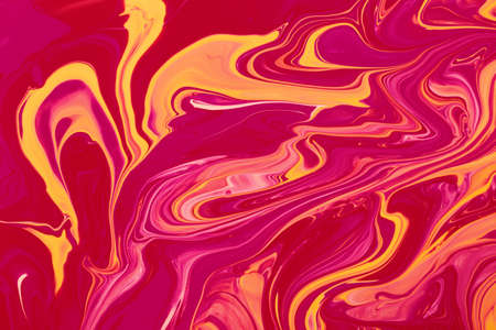 Bright multicolored pink marble abstract backround.Make up concept.Beautiful stains of liquid nail laquers.Fluid art, pour painting technique.Good as digital decor, copy space.