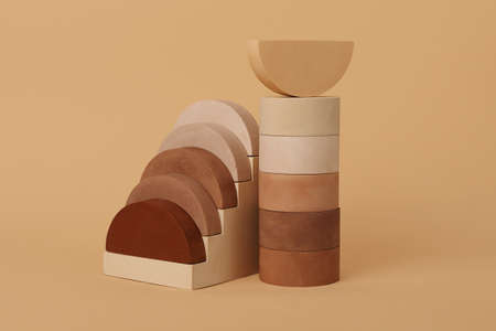 Composition from the geometrical podiums.Abstract background,good for advertising and placing products.Photography in beige colors,looks like different types of skin. 版權商用圖片
