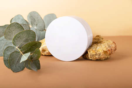 Blank round cosmetics box on the isometric pastel background.Eucalyptus branch and decorative natural stones behind.Mockup concept, copy space. 版權商用圖片