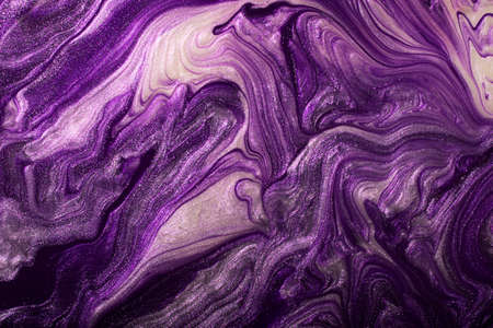 Abstract violet shimmer background.Make up concept.Beautiful stains of liquid nail laquers.Fluid art, pour painting technique.Good as digital decor, copy space.Horizontal photography.