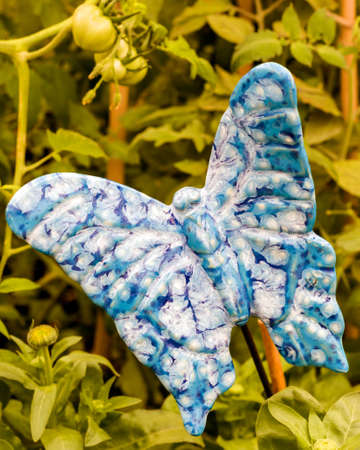 Blue   White Ceramic Butterfly