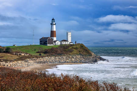 Montauk Point Lighthouse with moody sky