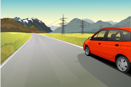 시골 풍경과 도로