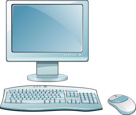 LCD monitor with keyboard and mouse Illustration
