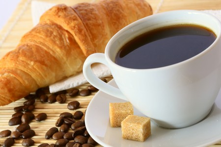 Breakfast with coffee and croissant Stock Photo