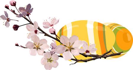 벚꽃이있는 부활절 달걀