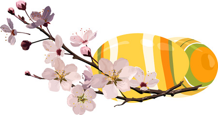 Easter eggs with cherry blossom Illustration