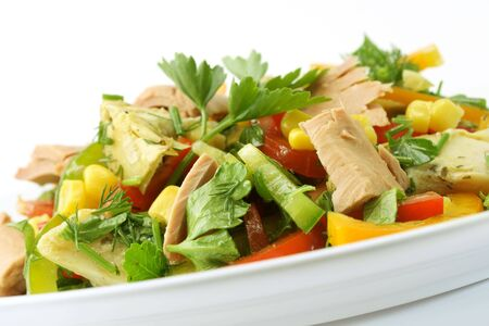 Fresh salad with  tuna and  paprika Stock Photo