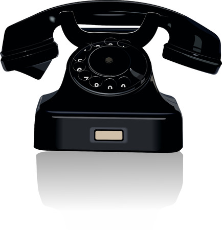 Black retro telephone Vector