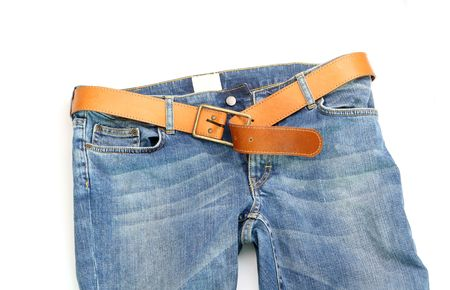 white pants: Blue Jeans with leather belt Stock Photo
