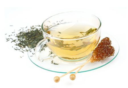 Tasse de th� avec sucre brun