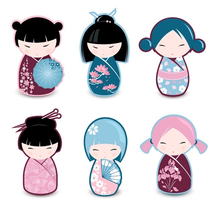 japanese flower: Kokeshi dolls  Illustration