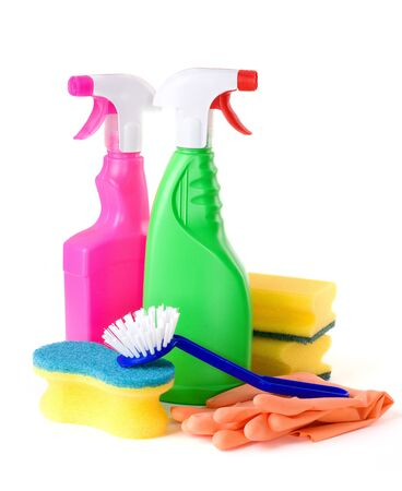 Cleaning products on white background  photo