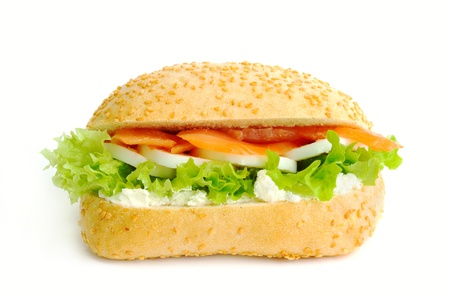 Sandwich with salmon and green salad  Stock Photo