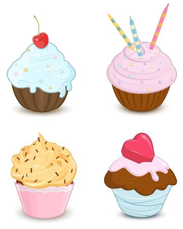 Set of decorated cupcakes  Illustration