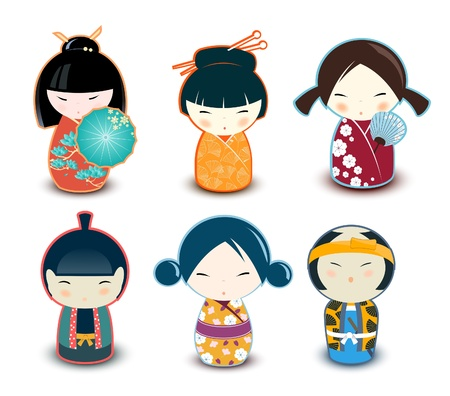 Kokeshi dolls  Illustration