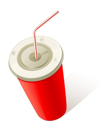 plastic straw: Red Cold Drink Cup Illustration