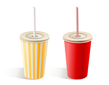 plastic straw: Two fast food paper cups with straw