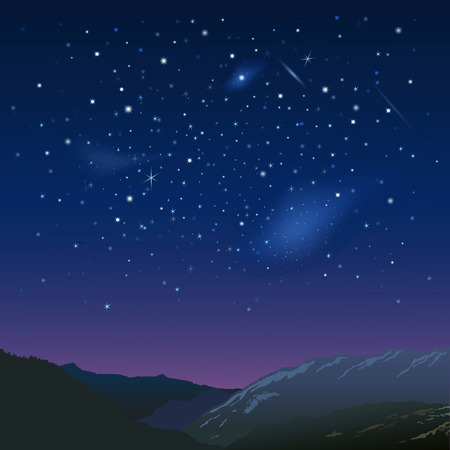 in night: Night starry  sky over the mountains