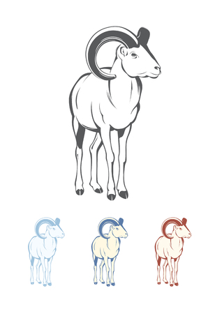 Bighorn Sheep. Colors easy to change in one click